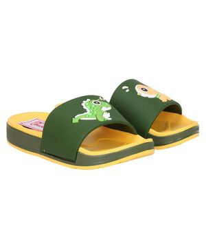 Buckled Up Dinosaur And Dog Slipper - Yellow & Green