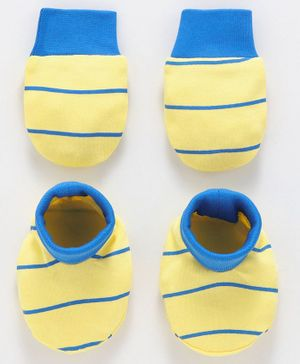 Babyoye Cotton Mittens And Booties - Yellow Blue