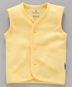 Child World Sleeveless Solid Vest - Yellow
