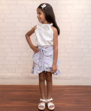 Fairies Forever Sleeveless Bow Top With Ruffled Bird Print Skirt - White & Blue