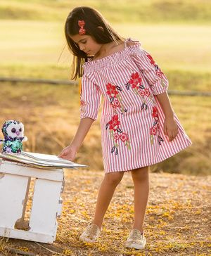 Fairies Forever Full Sleeves Striped & Floral Print Cold Shoulder Dress - Pink