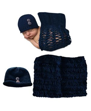 Bembika Cap & Wrap Photography Props - Navy Blue