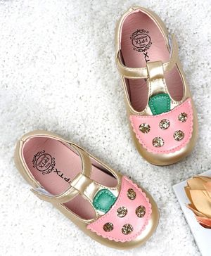 Kidlingss Ice-Cream Patch Velcro Straps Sandals - Golden
