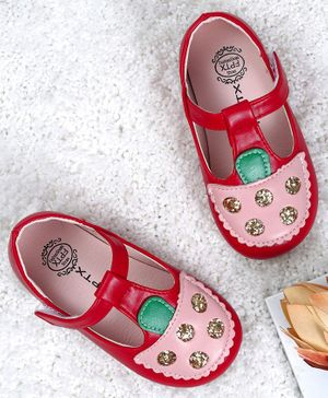 Kidlingss Ice-Cream Patch Velcro Straps Sandals - Red