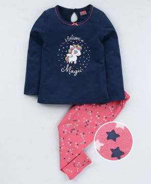 Babyhug Full Sleeves Night Suit Unicorn Print - Blue Pink