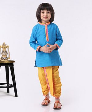 Babyhug Full Sleeves Kurta & Dhoti Set - Blue Yellow