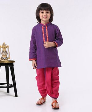 Babyhug Full Sleeves Kurta & Dhoti Set - Purple