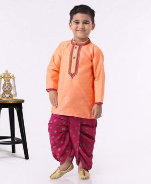 Babyhug Full Sleeves Kurta & Dhoti Set - Peach