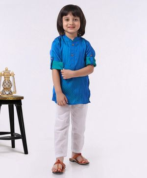 Babyhug Full Sleeves Kurta & Pyjama Set - Navy Blue