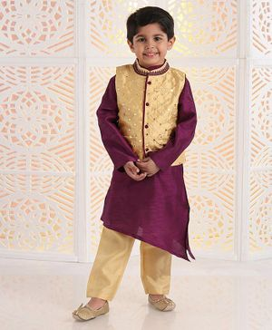 Babyhug Solid Kurta & Pyjama With Embellished Jacket - Beige Purple