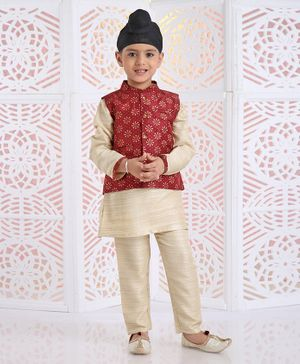 Babyhug Full Sleeves Kurta & Pajama With Printed Jacket Set - Maroon