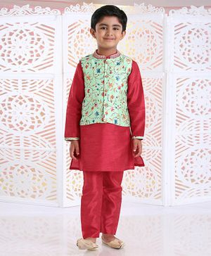 Babyhug Solid Kurta & Pyjama With Floral Design Jacket - Mint Red