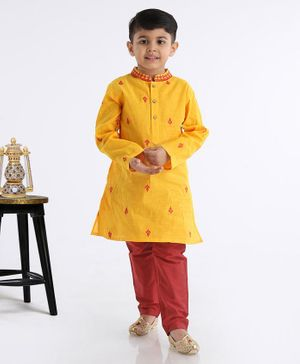 Babyhug Full Sleeves Kurta Pyjama Set - Yellow Red