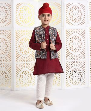 Babyhug Full Sleeves Kurta & Pyjama With Jacket - Maroon