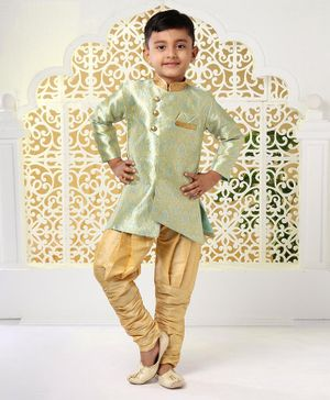 Babyhug Full Sleeves Kurta & Pajama Set - Blue & Golden