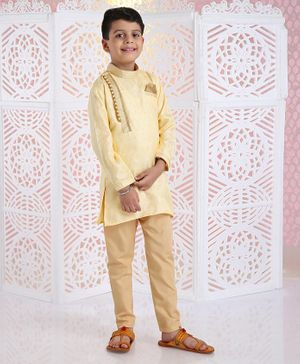 Babyhug Full Sleeves Kurta And Pyjama - Golden