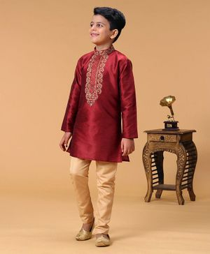 Babyhug Full Sleeves Embroidered Kurta & Pyjama Set - Red