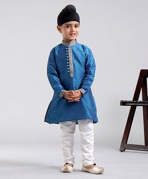 Babyhug Full Sleeves Kurta & Pyjama Set - Blue & White