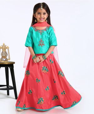 Babyhug Half Sleeves Choli And Lehenga With Dupatta - Green Orange