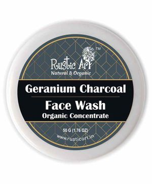 Rustic Art Organic Geranium Charcoal Face Wash Concentrate - 50 grams