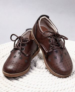 Cute walk by Babyhug Formals Shoes Star Design - Brown