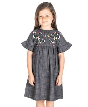 Cherry Crumble by Nitt Hyman Hibiscus Flower Embroidered Yoke Half Sleeves Dress - Grey