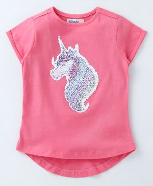 Blendz Unicorn Embellished Half Sleeves T-Shirt - Pink
