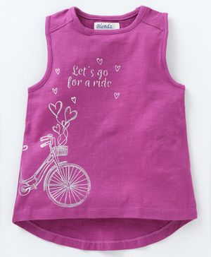 Blendz Cycle Printed Sleeveless T-Shirt - Pink