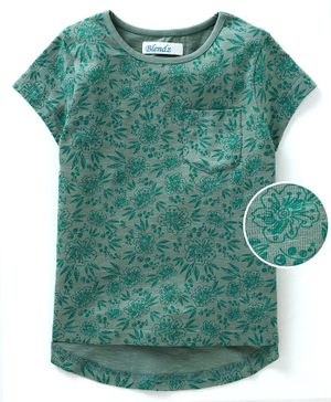 Blendz Floral Printed Half Sleeves T-Shirt - Green