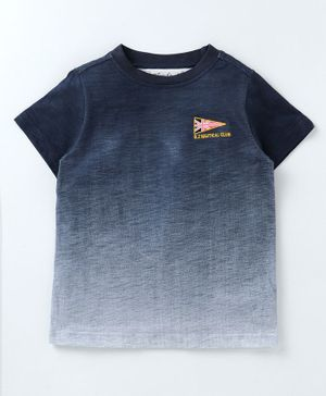 Blendz Dual Shaded Half Sleeves T-Shirt - Navy Blue