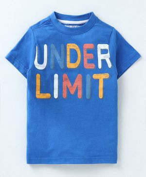 Blendz Under Limit Printed Half Sleeves T-Shirt - Blue