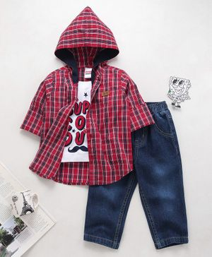 Babyhug Full Sleeves Checked Shirt With Jeans - Red Blue