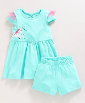 Babyoye Short Sleeves Cotton Frock With Shorts Unicorn Print - Sea Green