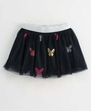 Babyoye Cotton Skirt Butterfly Design - Navy Blue