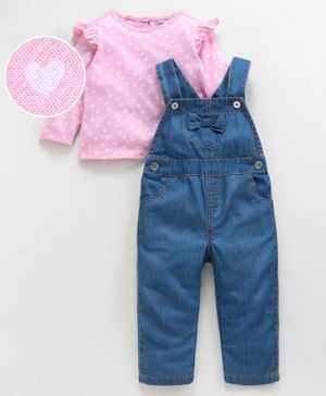 Babyoye Dungaree With Full Sleeves Inner Tee Heart Print - Pink Blue