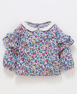 Babyoye Full Sleeves Top Heart Print - Blue