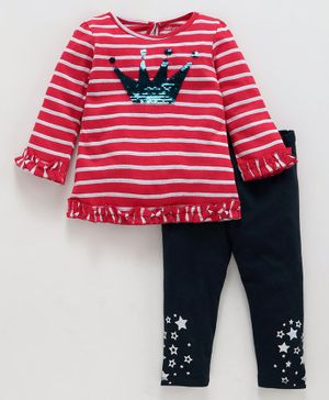 Babyoye Full Sleeves Cotton Lycra Striped T-Shirt & Leggings - Red