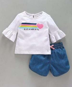 Babyoye Full Sleeves Tee & Shorts Set Text & Heart Print - White Blue