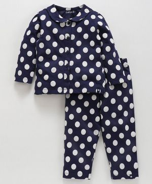 Babyoye Full Sleeves Cotton Night Suit Polka Dots Print - Navy Blue