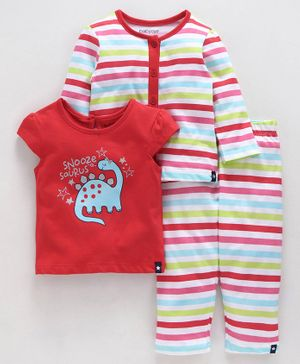 Babyoye Printed Night Suit Set Pack of 3 - Red