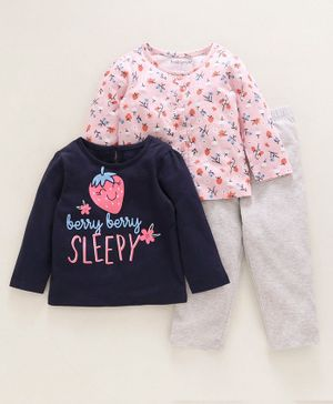 Babyoye Full Sleeves Night Wear Combo Set Strawberry Print Pack of 3 - Pink Blue