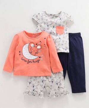 Babyoye Full Sleeves Night Wear Multi Print Pack of 4 - Peach blue