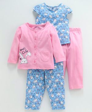 Babyoye Half & Full Sleeves Night Wear Bunny Print Pack of 4 - Pink Blue