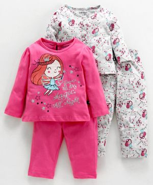 Babyoye Full Sleeves Cotton Night Suits Fairy Print Combo Set of 2 - Fuchsia Grey