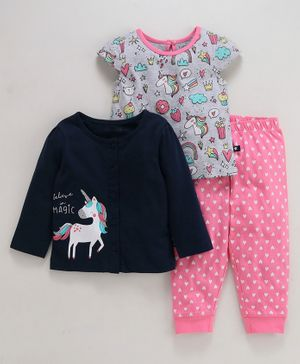 Babyoye 3 Piece Cotton Night Wear Set Unicorn Print - Pink Grey