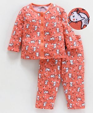 Babyoye Full Sleeves Cotton Night Suit Kitty Print - Coral