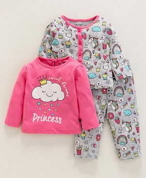Babyoye Cotton Full Sleeves 3 Piece Combo Nightwear Set Multi Print - Pink Grey