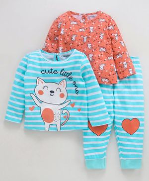 Babyoye Cotton Full Sleeves 3 Piece Combo Nightwear Set Kitty Print - Coral Blue