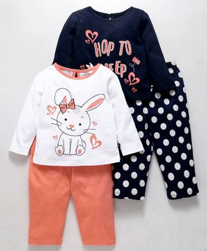 Babyoye Full Sleeves Night Wear Bunny Print Pack of 4 - Peach blue