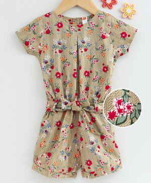 Dew Drops Short Sleeves Poplin Jumpsuit With Fabric Belt  Floral Print - Beige